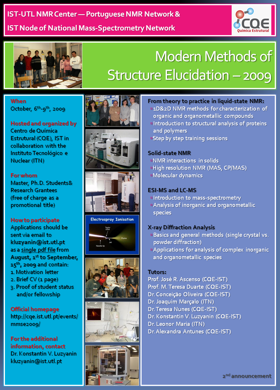 Previous Editions • Modern Methods of Structure Elucidation (MMSE)